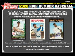2020 BASEBALL -  TOPPS HERITAGE HIGH NUMBER (P9/B24)