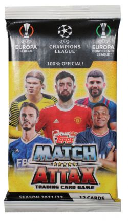 2021-22 SOCCER -  TOPPS MATCH ATTAX CHAMPIONS LEAGUE CARDS – BOX (24 PACKS PER BOX) (12 CARDS PER PACK) (TOTAL OF 288 CARDS)