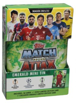 2021-22 SOCCER -  TOPPS MATCH ATTAX LEAGUE CARDS- MINI TIN EMERALD (36 CARDS PER TIN + 1 GOLD LIMITED EDITION CARD + 1 TRENT ALEXANDER ARNOLD EXCLUSIVE EMERALD LIMITED EDITION CARD)