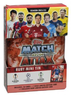 2021-22 SOCCER -  TOPPS MATCH ATTAX LEAGUE CARDS- MINI TIN RUBY (36 CARDS PER TIN + 1 GOLD LIMITED EDITION CARD + 1 JAMIE HARDY EXCLUSIVE RUBY LIMITED EDITION CARD)