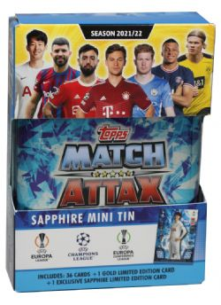 2021-22 SOCCER -  TOPPS MATCH ATTAX LEAGUE CARDS- MINI TIN SAPPHIRE (36 CARDS PER TIN + 1 GOLD LIMITED EDITION CARD + 1 HEUNG-MIN SON EXCLUSIVE SAPPHIRE LIMITED EDITION CARD)