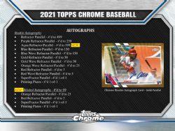 2021 BASEBALL -  TOPPS CHROME JUMBO (P13/B12/C8)