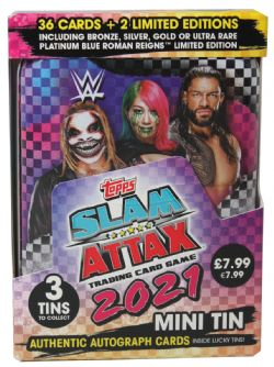 2021 WWE -  TOPPS - MINI TIN (36 CARDS + 2 LIMITED EDITION) -  SLAM ATTAX