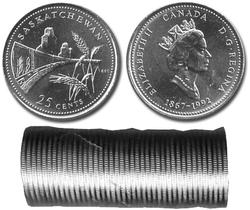 25-CENT -  1992 25-CENT ORIGINAL ROLL - SASKATCHEWAN -  1992 CANADIAN COINS 11