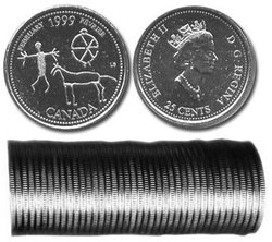25-CENT -  1999 25-CENT ORIGINAL ROLL - FEBRUARY -  1999 CANADIAN COINS 02