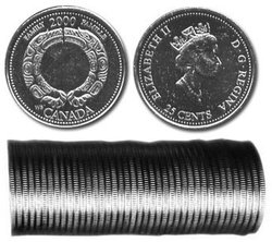 25-CENT -  2000 25-CENT ORIGINAL ROLL - FAMILY -  2000 CANADIAN COINS 08