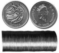25-CENT -  2000 25-CENT ORIGINAL ROLL - INGENUITY -  2000 CANADIAN COINS 02