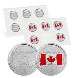 25-CENT -  2015 25-CENT - CANADIAN FLAG - SET OF TEN COINS -  2015 CANADIAN COINS