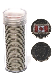 25-CENT -  2015 25-CENT - COLORED FLAG - PACK OF 40 - BRILLIANT UNCIRCULATED (BU) -  2015 CANADIAN COINS