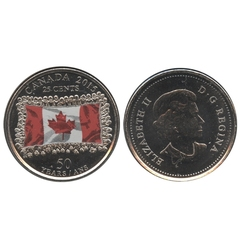 25-CENT -  2015 COLORED 25-CENT - CANADIAN FLAG - DARK COLOUR (BU) -  2015 CANADIAN COINS