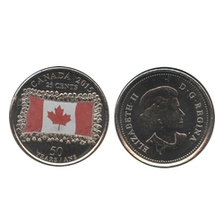 25-CENT -  2015 COLORED 25-CENT - CANADIAN FLAG - FEW SHADES (BU) -  2015 CANADIAN COINS