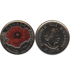 25-CENT -  2015 COLORED 25-CENT - IN FLANDERS FIELDS - BRILLIANT UNCIRCULATED (BU) -  2015 CANADIAN COINS