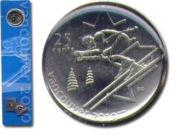 25-CENT -  25-CENT ALPINE SKIING COIN BOOKMARK WITH COMMEMORATIVE PIN -  2007 CANADIAN COINS