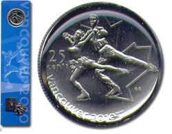 25-CENT -  25-CENT FIGURE SKATING COIN BOOKMARK WITH COMMEMORATIVE PIN -  2008 CANADIAN COINS
