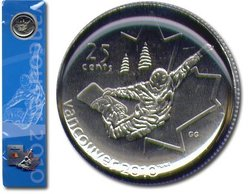 25-CENT -  25-CENT SNOWBOARDING COIN BOOKMARK WITH COMMEMORATIVE PIN -  2008 CANADIAN COINS