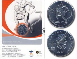 25-CENT -  SPEED SKATING - OFFICIAL FIRST DAY COIN -  2009 CANADIAN COINS 11