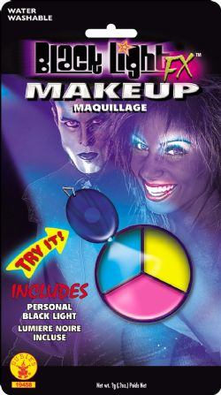 3 COLOR MAKEUP PALETTE - BLUE, YELLOW, PINK -  BLACK LIGHT