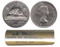 5-CENT -  1964 5-CENT ORIGINAL ROLL -  1964 CANADIAN COINS
