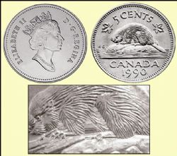 5-CENT -  1990 5-CENT - BARE BELLY BEAVER VARIETY - BRILLIANT UNCIRCULATED (BU) -  1990 CANADIAN COINS
