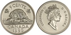 5-CENT -  1990 5-CENT - BRILLIANT UNCIRCULATED (BU) -  1990 CANADIAN COINS