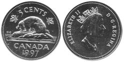 5-CENT -  1997 5-CENT - SPECIMEN (SP) -  1997 CANADIAN COINS