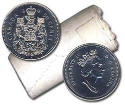 50-CENT -  1991 50-CENT ORIGINAL ROLL -  1991 CANADIAN COINS