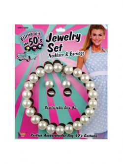 50'S -  PEARL NECKLACE AND EARRINGS