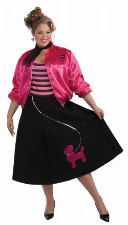 50'S -  POODLE SET COSTUME (ADULT - ONE SIZE UP TO 22)