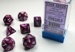 7 DICE, AMETHYST AND WHITE -  LAB DICE