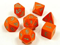 7 DICE, HEAVY ORANGE/TURQUOISE -  LAB DICE