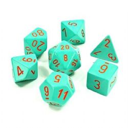 7 DICE, HEAVY TURQUOISE/ORANGE - LUMINARY -  LAB DICE