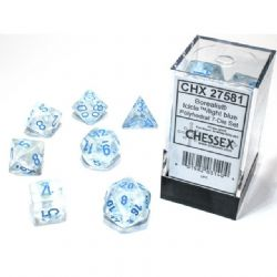 7 DICE, ICICLE WITH LIGHT BLUE - GLOW IN THE DARK -  BOREALIS
