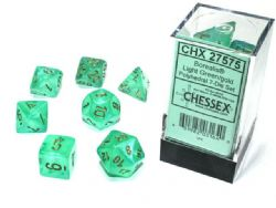 7 DICE, LIGHT GREEN WITH GOLD -  BOREALIS