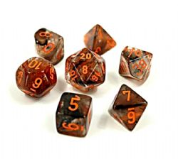 7 DICE, NEBULA COPPER MATRIX/ORANGE - LUMINARY -  LAB DICE