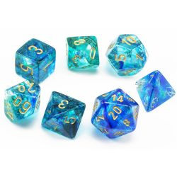 7 DICE, OCEANIC WITH GOLD -  NEBULA