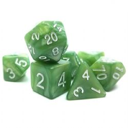 7 DICE, RESIN DICE SET, PEARLESCENT GRASS GREEN