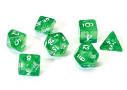 7 DICE, RESIN DICE SET, TRANSPARENT GREEN