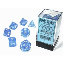 7 DICE, SKY BLUE WITH WHITE - GLOW IN THE DARK -  BOREALIS