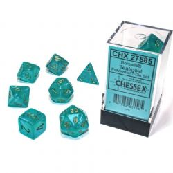 7 DICE, TEAL WITH GOLD - GLOW IN THE DARK -  BOREALIS