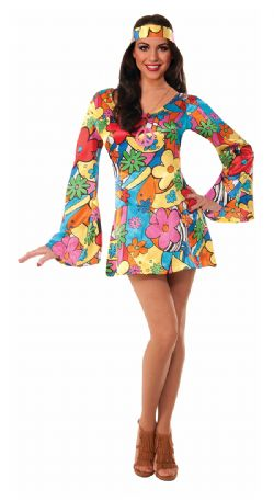 70'S -  HIPPIE GROOVY GO-GO DRESS (ADULT)