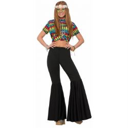 70'S -  HIPPIE PANTS, BLACK (ADULT - ONE SIZE)