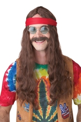 70'S -  HIPPIE WIG AND MUSTACHE - BROWN (ADULT)