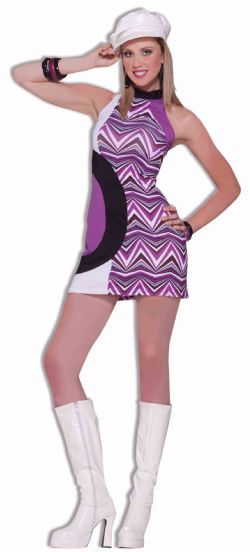 70'S -  ZIG ZAG DRESS - (ADULT - ONE SIZE)