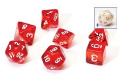 8 DICE TUBE, SEMI-TRANSLUCENT, RED