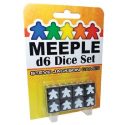 8 MEEPLE D6 DICE SET (BLACK)