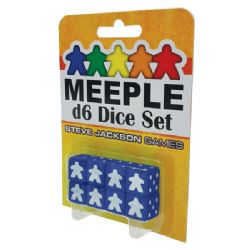 8 MEEPLE D6 DICE SET (BLUE)
