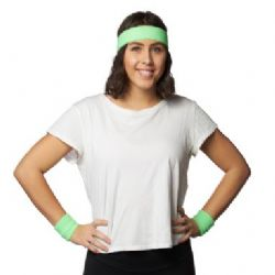 80'S -  HEADBAND & WRISTLET SET - GREEN