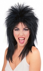80'S -  SUPERSTAR WIG - BLACK (ADULT)