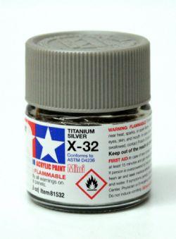 ACRYLIC PAINT -  TITANIUM SILVER (1/3 OZ) X-32