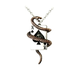 ALCHEMY GOTHIC -  SNAKE OF ACES NECKLACE